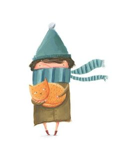 I love the adorable characters that populate the art of Russian-born London-based illustrator Ekaterina Trukhan . Her illustrations are crea. Illustration Inspiration, Winter Illustration, Children's Book Illustration, Character Illustration, She And Her Cat, Graphic, Cat Art, Cute Drawings, Character Design