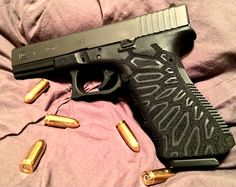 Stippled Glock 17 I did with a kryptek pattern. Not bad for my first one. Airsoft Guns, Weapons Guns, Guns And Ammo, Custom Glock, Custom Guns, Glock Stippling, Cool Guns, Concealed Carry, Tactical Gear