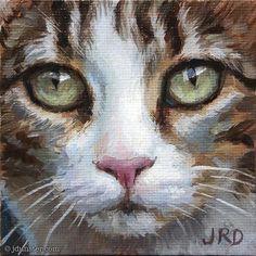 "Daily Paintworks - ""Green-Eyed Tabby "" - Original Fine Art for Sa. Mini Paintings, Animal Paintings, Mini Canvas Art, Watercolor Animals, Cat Drawing, Love Painting, Art Studies, Pet Portraits, Cat Art"