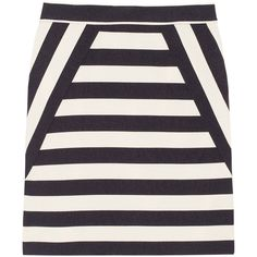 Marc by Marc Jacobs Scooter striped satin-twill skirt ($260) ❤ liked on Polyvore