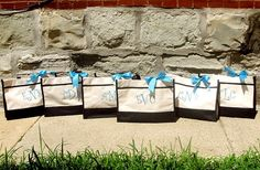 8 Personalized Bridesmaids Gift Totes in Black, Navy, Red, Hot Pink or Lime - Bridal Party - Greek - Cheer on Etsy, $120.00