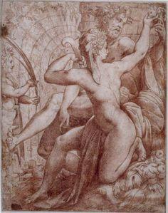 Perino del Vaga (Pietro Buonaccorsi), 1501-1547, Italian, Vertumnus & Pomona, 16th century.  British Museum, London.  High Renaissance, Mannerism.