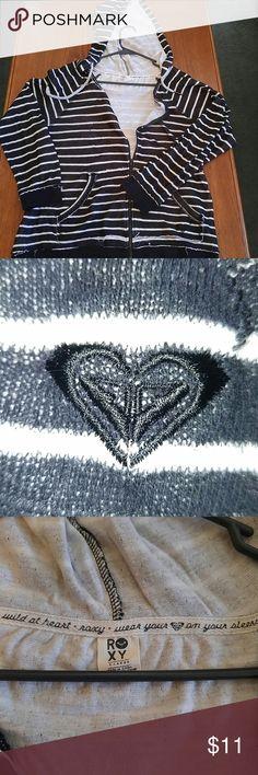 Black and white striped zip up hoodie Zip up hoodie from Roxy scoop neckline. Vintage/worn look comfy soft interior. Roxy Sweaters