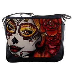 Womens Day of the Dead Tattoo  Rockabilly  Autumn   Messenger Bag Purse  Sugar Skulls Dia De Lo Muertos Tattoo Art  Lowbrow Cute punk
