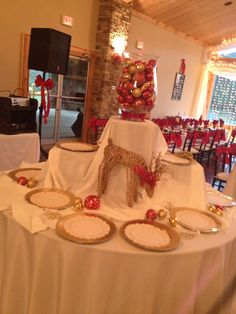 Appetizer table. Red christmas wedding