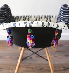 Folk Project Home Decor, Furniture, Chairs and ottomans using mexican textiles