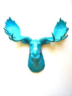 Faux Taxidermy Moose Head wall mount in turquoise:  Max the Moose on Etsy, $92.00// Tru  needs this