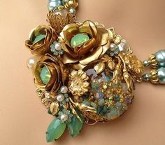 Vintage Miriam Haskell Opal & Glass Baroque Pearl Statement Necklace