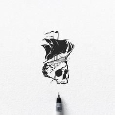 I'm available for tattoo design custom illustrations and branding contact me via DM or email! My Etsy shop: https:/ Skull Illustration, Ink Illustrations, Pen Sketch, Sketches, Plasma Cutter Art, Pirate Tattoo, Lake Art, Skull Painting, Black And White Illustration