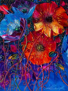 Poppy Red Poppies Floral Original Painting Textured by willsonart