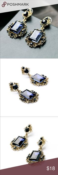 Antique Square Blue Resin Stud Earrings Antique Square Blue Resin Stud Earrings Jewelry Bracelets