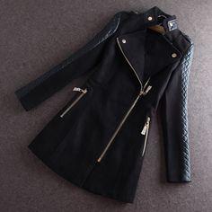 Plus Size Zipper Patchwork Long Woolen Coat