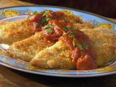 Panko Parmesan Crusted Chicken with Wasabi Tomato Sauce recipe from Robin Miller via Food Network