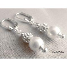 Perlenschmuck zur Hochzeit Ohrhänger 925 Modell Bea