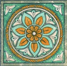 Ceramic Tile Lot sale of 20 Tiles Gloria Plomo (Aqua) Tile Insert Flower Italian