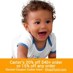 #Carters is offering 20% off $40+ order or $15% off any order until 3/31! Shop for your #baby #boy or #girl now! Reveal Coupon Codes Here: www.shop2fund.com