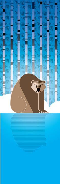 Charley Harper style bear