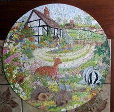 Cottage Garden 500 Piece Jigsaw Puzzle Round Circular Badger Hedgehog Deer Birds