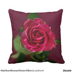 #Pink #Rose Blossom #Flowers #Pillow