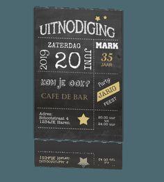 Uitnodigingskaart verjaardag krijtbord met typografie