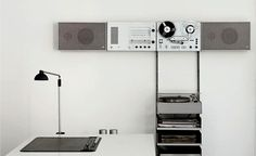 Matthew Donaldson - Wall Mounted Audio 2-3 (Compents Control TS45, Reel to Reel Tape Recorder TG60, Slim Speakers L450, Record Player PCS5) 1962-1963 by Dieter Rams for Braun.