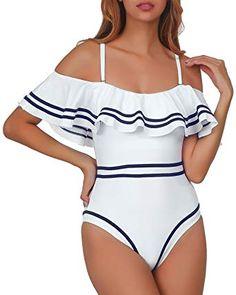 dbb7665027e58 Elegant Taste Women 1 Piece Vintage Navy Ruched Flounce Off Shoulder  Swimwear High Waisted Swimsuit Monokini