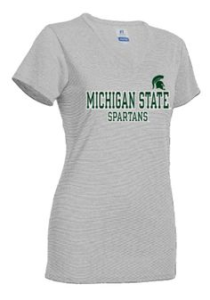 cheaper 05a7a 1ec47 Michigan State Spartans Juniors Grey Straight Bottom T-Shirt
