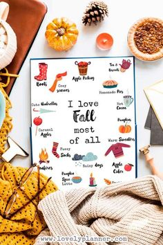 5 FREE Fall Favorites Printable to decorate your home. 5 different Fall quotes & 4 sizes included:8x10, 5x7, US Letter, 11x14. Free Printable Fall Favorites - I love Fall most of all, Fall is in the air #freeprintable #fall #Printable #HomeDecor #interior #FallDecor #FallFavorites #WallArt #DIY #lovelyplanner