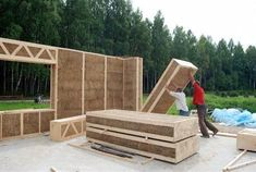 What a concept, better than SIP's ,I guess sips is still correct Straw Insulated Panels 😁 Natural Building, Green Building, Building A House, Prefab Homes, Cabin Homes, Straw Bale Construction, Earthship Home, Passive House, Earth Homes