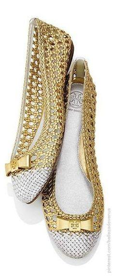 Tory Burch gold ballerina flats shoes