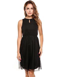Black Sleeveless Keyhole Sheer Mesh Patchwork Casual Dress