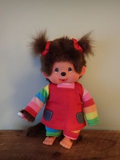 Collectible Monchhichi Doll Soft Toy by VintageToysForAll on Etsy Doll Toys, Dolls, Star Cards, Rainbow Sweater, Little Twin Stars, Rainbow Colors, Hello Kitty, Snoopy, Teddy Bear