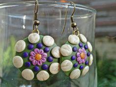 Purple and Green Mandala Earrings for sale on my etsy sight DonovanMandala $17