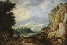 Jan Brueghel (I)  1568-1625 and Joos de Momper (II) 1564-1635 : Rock Landscape with a Waterfall (Hermitage Museum) 1568-1625 ヤン・ブリューゲル (父)とヨース・デ・モンペル2世 合作