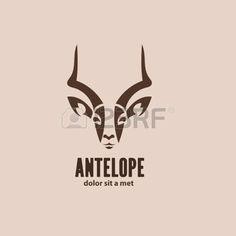 Art�stico ant�lope vector silueta. Idea estilizado animal salvaje plantilla de dise�o del logotipo. photo