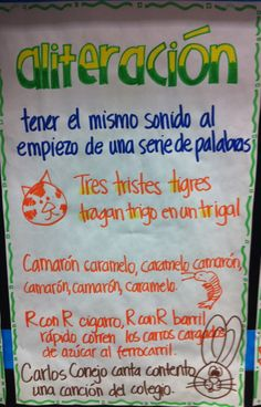 Anchor charts- figurative language Aliteración - Lenguaje Figurado Español Poetry Anchor Chart, Spanish Anchor Charts, Ela Anchor Charts, Reading Anchor Charts, Classroom Charts, Bilingual Classroom, Bilingual Education, Spanish Teaching Resources, Spanish Lessons