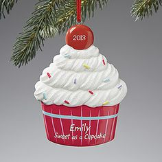 "AHHH! This is so cute!!! It's PMall's ""Lil' Cupcake© Personalized Ornament"" - you can have it engraved with any name, message and year on the cherry on top! This is such a cute gift idea and would look adorable on the Christmas Tree! It's on sale now for only $11.20!"