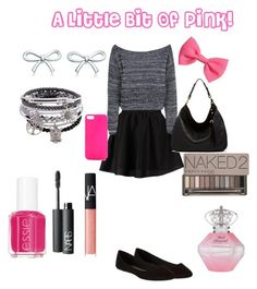 """A Little Bit Of Pink!"" by asm623 ❤ liked on Polyvore featuring ONLY, Boohoo, dELiA*s, Ella Moss, Jagger Edge, H&M, Tiffany & Co., Urban Decay, NARS Cosmetics and Essie"