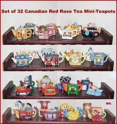Set of 32 Mini-Teapots From Canadian Red Rose Tea Switch Plate Covers, Light Switch Plates, Tea Cup Display, Red Rose Tea, Tea Box, Vintage Toys, Vintage Pyrex, Ol Days, Collectible Figurines