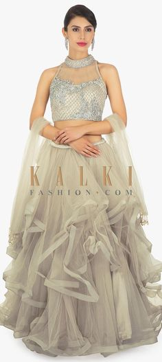 Buy Online from the link below. We ship worldwide (Free Shipping over US$100)  Click Anywhere to Tag Grey-net-ruffled-skirt-paired-with-a-grey-net-blouse-in-sequin-and-cut-dana-only-on-Kalki Net Blouses, Lehenga Skirt, Indian Gowns, Ruffle Skirt, Western Wear, Fashion Boutique, Indiana, Evening Gowns, Fashion Ideas