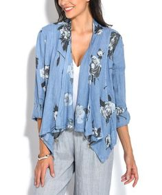 Another great find on #zulily! Blue Floral Casual Linen Jacket - Women #zulilyfinds