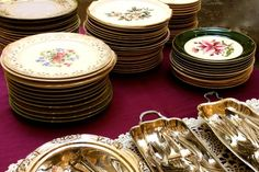 Lovely stacks of vintage luncheon plates are ready on the buffet table - Southern Vintage Table