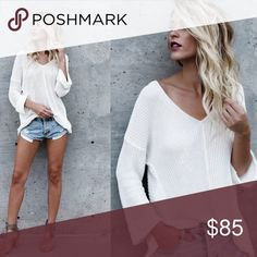 🎈Coming Soon - White Knit Top Long Sleeve White Knit Top - the perfect winter white your wardrobe is looking for! Sweaters