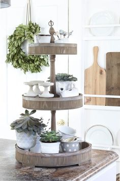 I love tiered trays in the kitchen