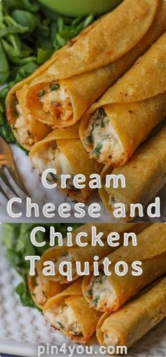 Cream Cheese and Chicken Taquitos - Fingerfood - Gourmet Recipes, Mexican Food Recipes, Appetizer Recipes, Cooking Recipes, Healthy Recipes, Appetizers, Healthy Mexican Food, Yummy Recipes, Healthy Food