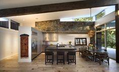 modern open kitchen windows
