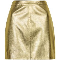 TOPSHOP Shiny PU Mini Skirt ($7.65) ❤ liked on Polyvore featuring skirts, mini skirts, bottoms, faldas, gold, topshop, metallic skirt, topshop skirts, beige mini skirt and beige skirt