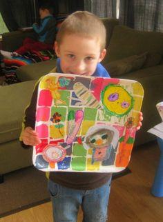 recyclage, plateau en plastique ikea, dessin, collage, enfants