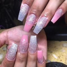 #nails #pink #glitter #swarovski #acrylicnails #fashion #instagram #instafashion #3dflowers #silver #sanbernardino