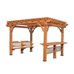 The pergola kits are the easiest and quickest way to build a garden pergola. There are lots of do it yourself pergola kits available to you so that anyone could easily put them together to construct a new structure at their backyard. Diy Pergola, Wooden Pergola, Outdoor Pergola, Backyard Patio, Outdoor Spaces, Outdoor Living, Outdoor Decor, Pergola Ideas, Pergola Lighting
